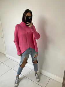 Gina Ribbed Knitted Jumper - Bright Pink