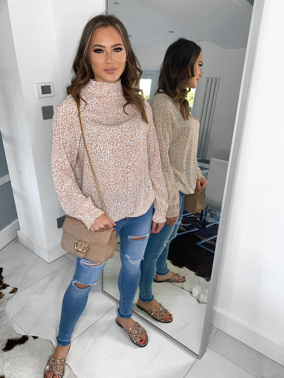 Kylie Leopard Detail Blouse - Peach