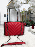 Poppy Quilted Chunky Chain Bag - Red