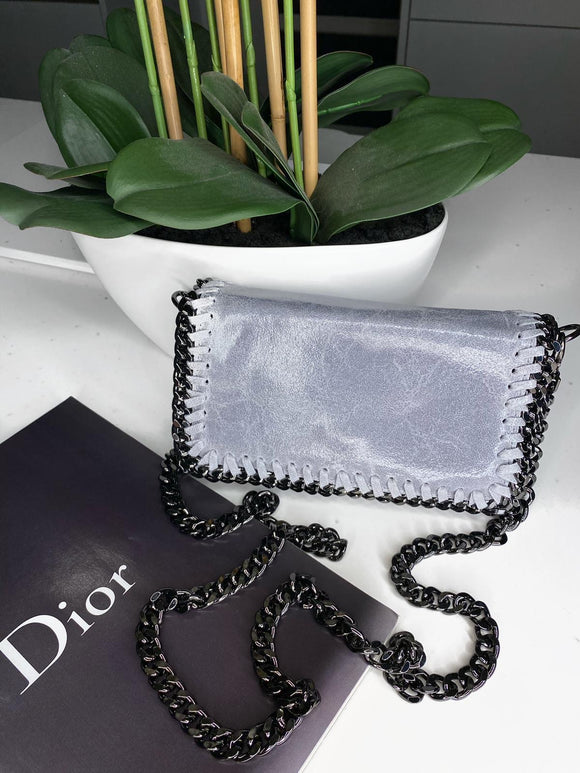 Ruby Real Leather Clutch Small Bag - Light Grey