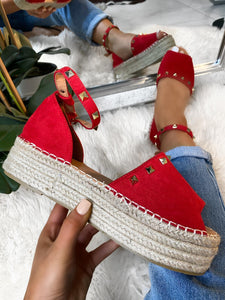 Laila Studded Flatforms - Red Suede