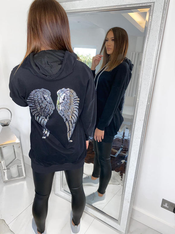 Nova Sequin Angel Wings Hoodie - Black