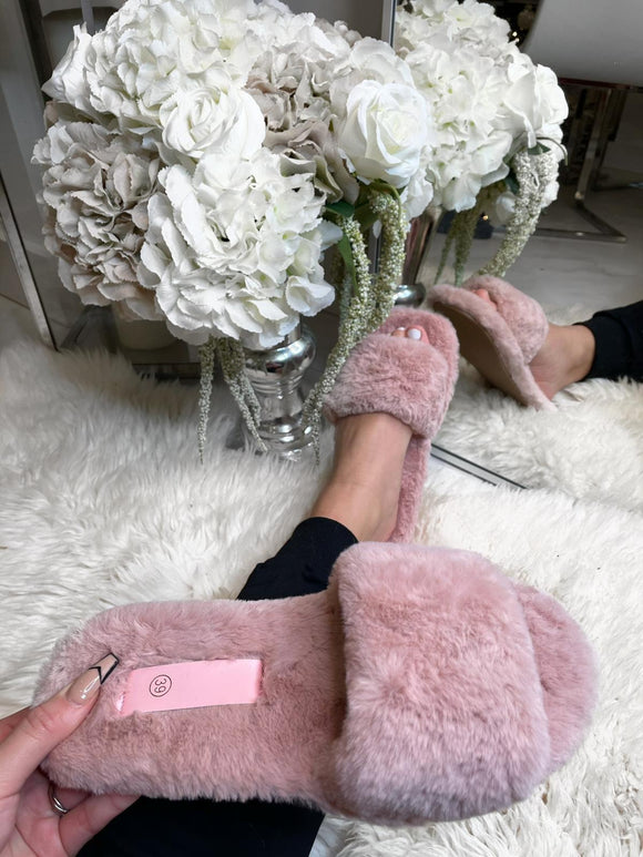 Ellie Fur Slippers - Pink