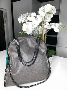 Nessa Chunky Chain Large Bag - Dark Grey