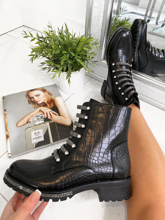 Ruby Jewel Lace Ankle Boot - Black Croc Leather