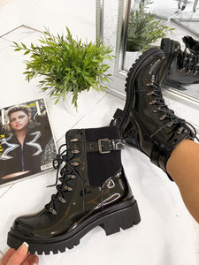Lissy Lace Up Ankle Boots - Black Patent