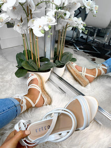 Esme Strap Leg Tie Flatforms - White Leather