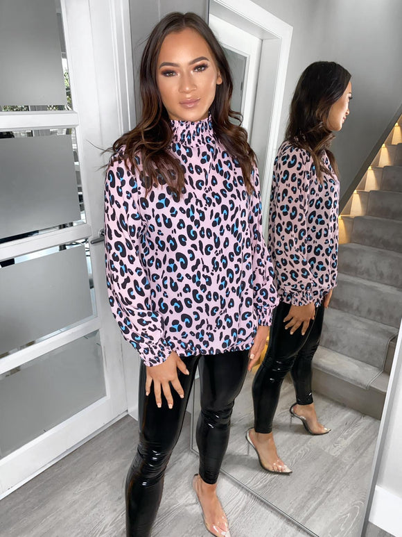 Maddie Leopard Detail Blouse - Pink