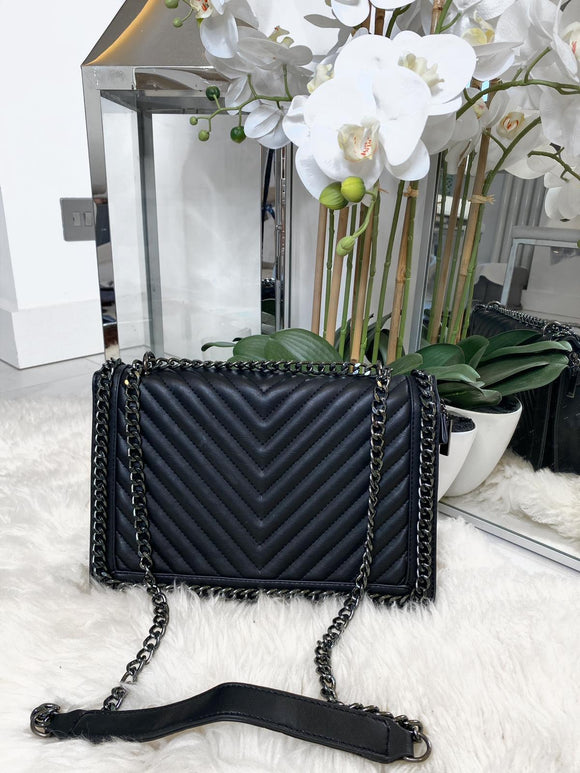 Poppy Quilted Chunky Chain Bag - Black