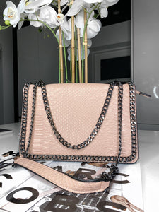 Araz Snake Effect Bag - Pink
