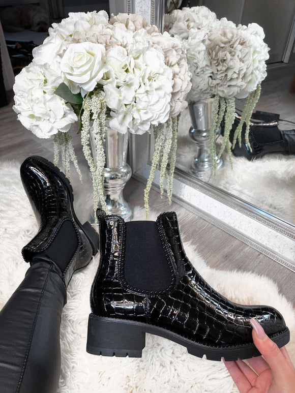 Gigi Studded Detail Ankle Boots - All Black Croc Patent