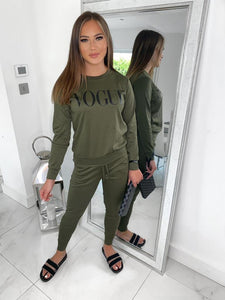 VOGUE Long Sleeve Lounge Set - Khaki