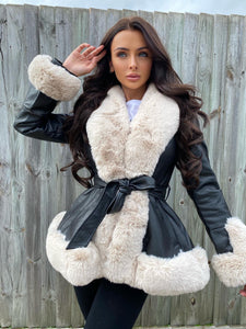 Freya Belted Fur Coat - Black/Cream