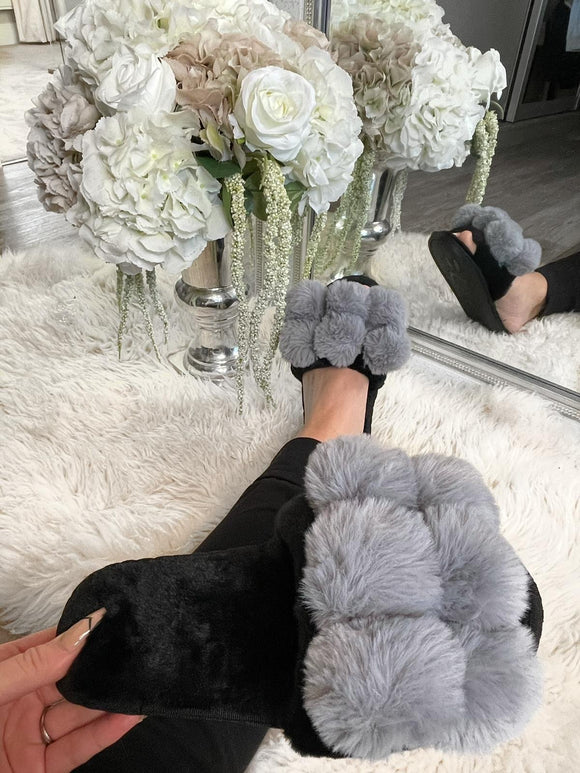 Gia Pom Pom Fur Slippers - Grey