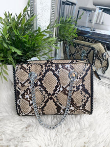 Brie Snake Leather Handbag - Beige