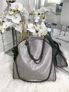 Nessa Chunky Chain Large Bag - Light Grey