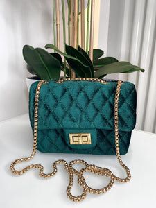 Pearl Quilted Small Velvet Bag - Green