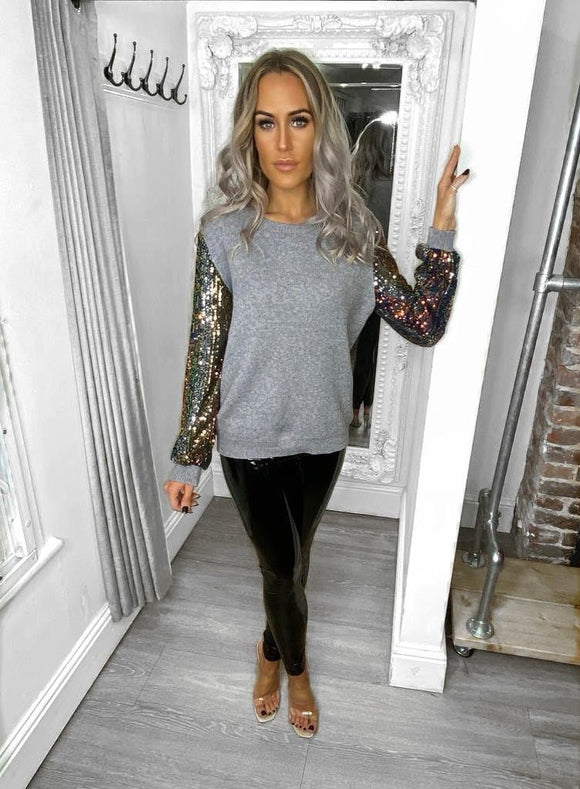 Olivia Sequin Detail Jumper - Grey