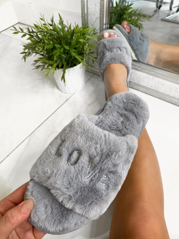 LOVE Fur Slippers - Grey