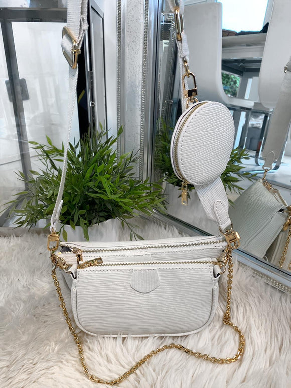 Alicia Multi Accessories Pochette Bag - White