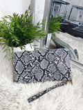 Angie Snake Leather Purse - Grey