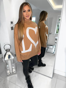Love Heart Knitted Jumper - Camel