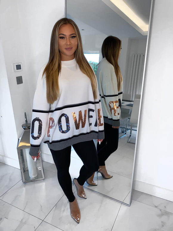 POWER Sequin Jumper - White