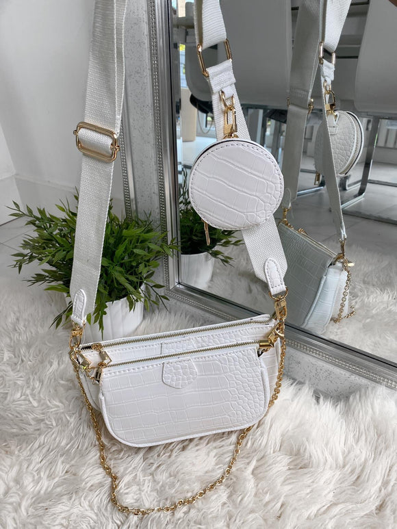 Loren Multi Accessories Pochette Bag - White Croc Leather
