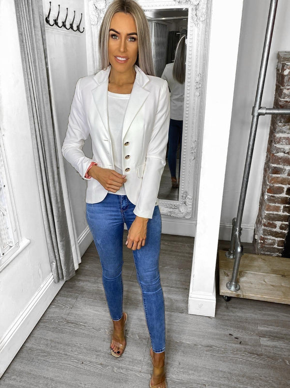Alexis Gold Button Blazer - White