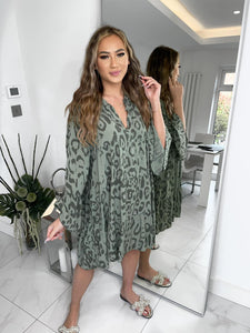 Amy Cheetah Print Smock Dress - Khaki