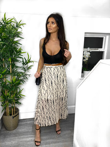 Jess Loop Chain Pleated Midi Skirt - Beige