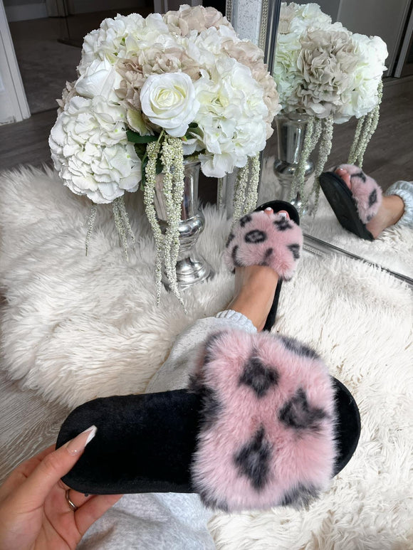 Louie Fluffy Slippers - Pink
