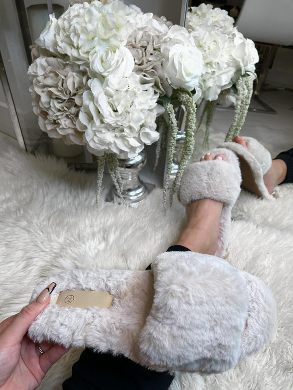 Ellie Fur Slippers - Cream