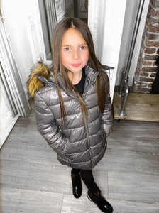 Sophie Metallic Kids Coat - Grey