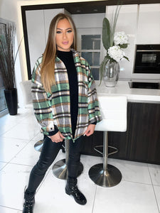 Paige Checked Fleeced Shacket - Green