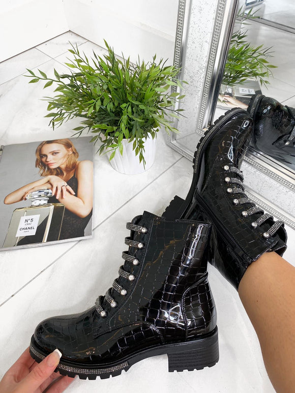 Ruby Jewel Lace Ankle Boot - Black/White Croc Patent Leather