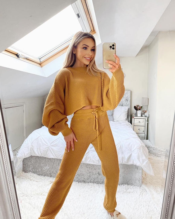 Ella Cropped Knitted Loungeset - Mustard