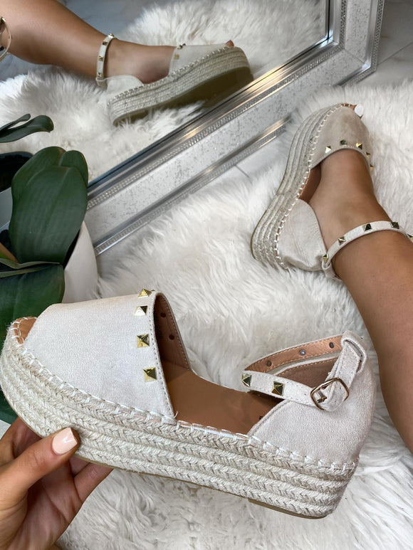 Laila Studded Flatforms - Cream Suede