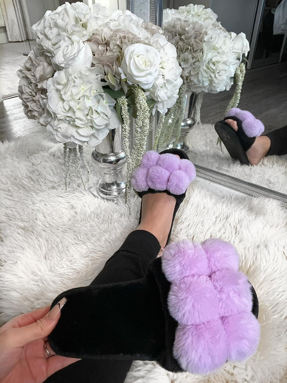 Gia Pom Pom Fur Slippers - Purple