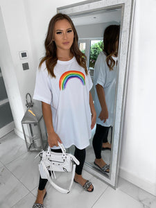 Lula Rainbow Oversize Top - White