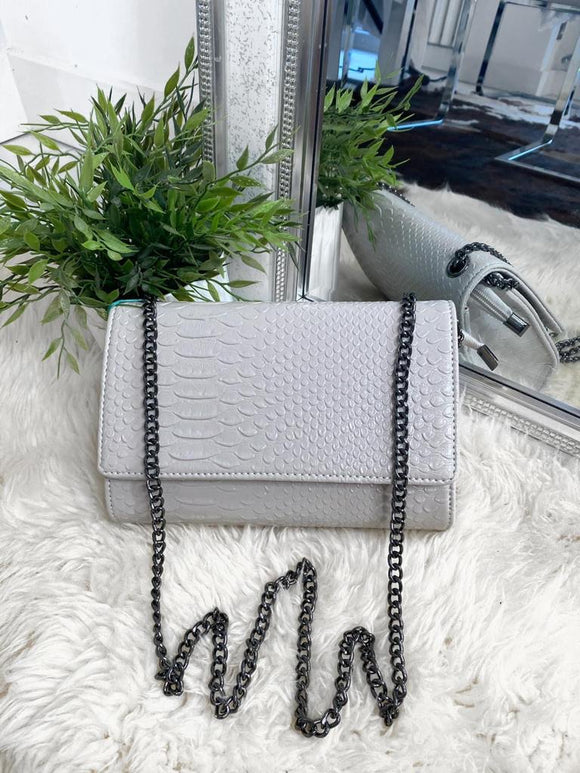Cora Snake Detail Bag - Light Grey