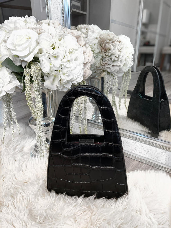 Jordyn Snake Detail Tote Bag - Black