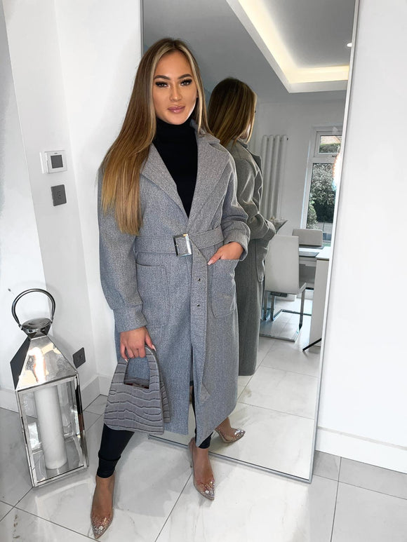 Hailey Belted Coat - Grey