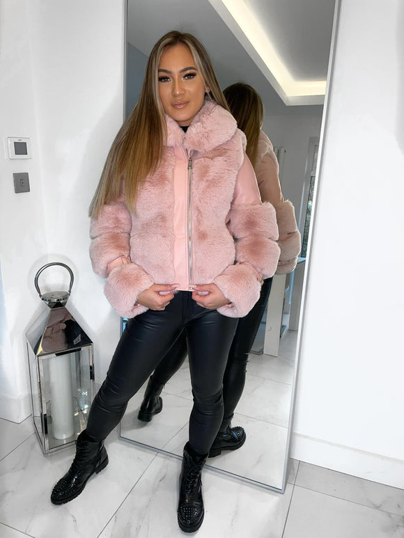 Brooklyn Leather Fur Coat - Pink