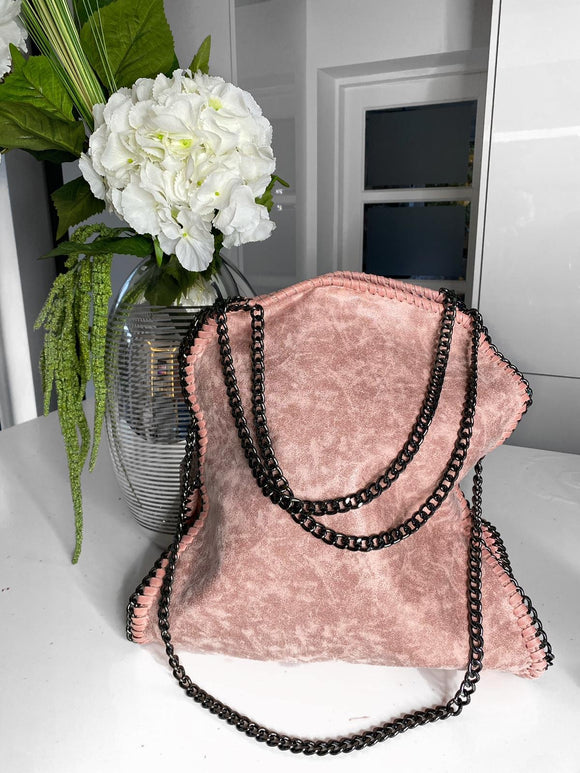 Nessa Chunky Chain Large Bag - Pink