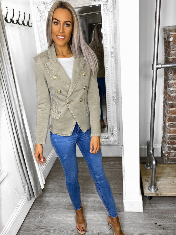 Penelope Olive Green Denim Blazer