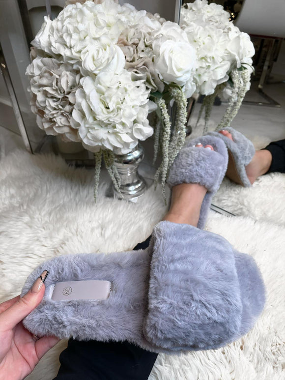 Ellie Fur Slippers - Grey
