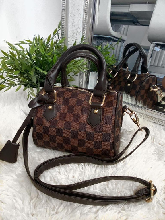 Mallisha Checked Handbag - Brown