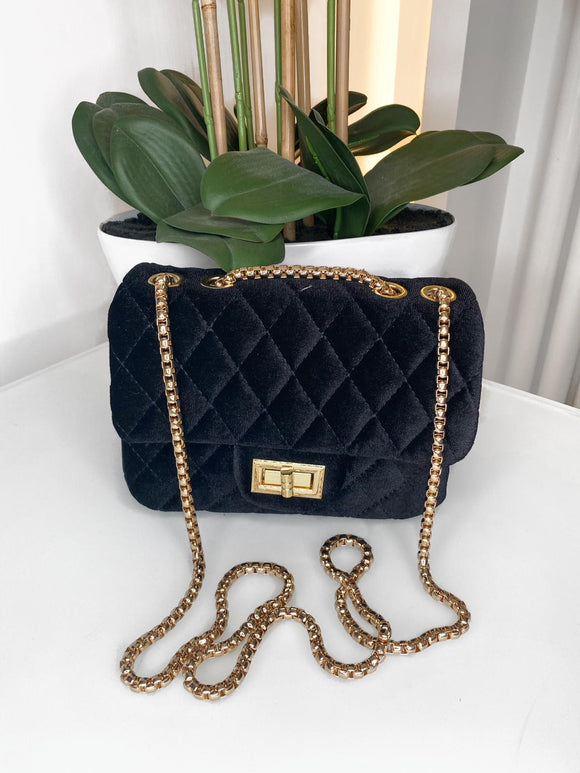 Pearl Quilted Small Velvet Bag - Black