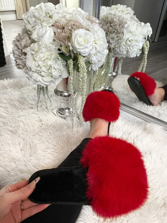 Harriet Fluffy Slippers - Red